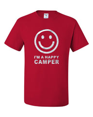 I'm a Happy Camper Smiley Face T-Shirt Tourism Camping Travel Tee Shirt