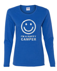 I'm a Happy Camper Smiley Face Women's Long Sleeve Tee Tourism Camping Travel