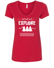 Get Out and Explore Women's V-Neck T-Shirt Nature Camping Tourism Adventure