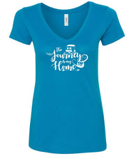 The Journey Is My Home Women's V-Neck T-Shirt Camping RV Trailer Traveling Trip