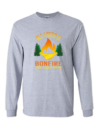 All I Need is Bonfire & Some Beer Long Sleeve T-Shirt Funny Camping Drinking Tee