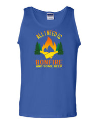 All I Need is Bonfire & Some Beer Tank Top Funny Camping Drinking Sleeveless