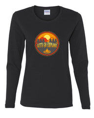 Let's Go Explore Women's Long Sleeve Tee Campfire Nature Mountains Adventure