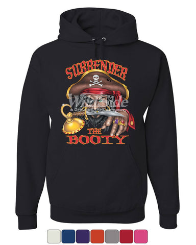 Surrender The Booty Hoodie Funny Pirate Skull Jolly Roger Butt Sweatshirt