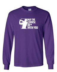 b11244cf ... May the Course Be with You Long Sleeve T-Shirt Funny Golf Club Golfing  Fan ...