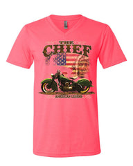 Indian Chief American Legend V-Neck T-Shirt Biker Heritage Route 66 USA Tee