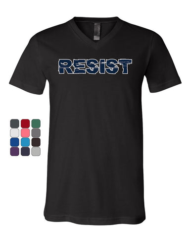 Resist V-Neck T-Shirt Anti Trump Not My President Impeach 45 Patriotic Tee