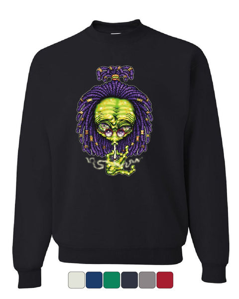 Alien Rastafari Sweatshirt Funny Smoking 420 Pothead Kush Pot UFO Sweater