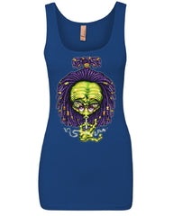 Alien Rastafari Women's Tank Top Funny Smoking 420 Pothead Kush Pot UFO Top