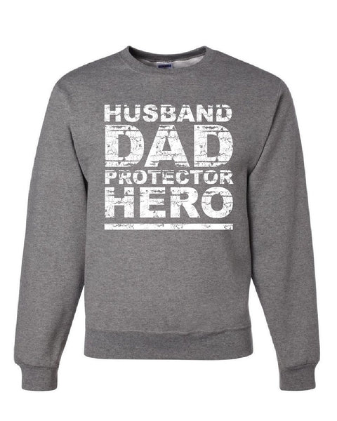 0a9d3586 ... Husband Dad Protector Hero Sweatshirt Father's Day Daddy Parenthood  Sweater ...