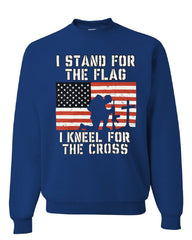 I Stand for the Flag I Kneel for the Cross Sweatshirt Patriotic Military Sweater