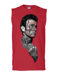 Tattoed Face Guy Muscle Shirt Day of the Dead Calavera