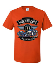 American Pride Motorcycle T-Shirt MC Biker Timeless Tradition Tee Shirt