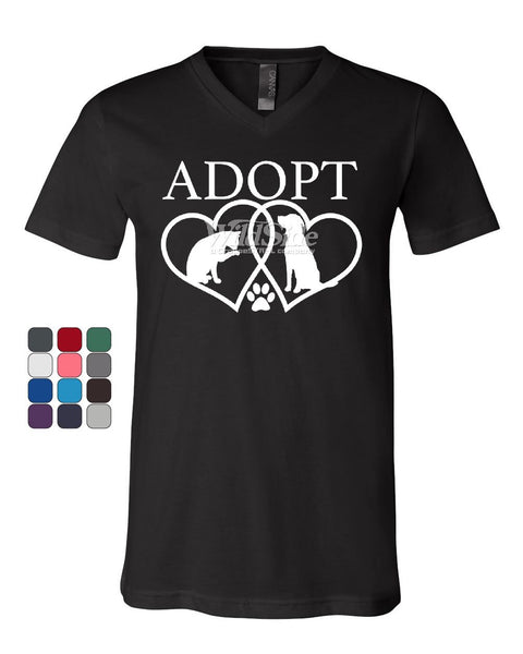 Adopt Pets V-Neck T-Shirt Cat Dog Kitten Puppy Adoption Animal Rescue Tee