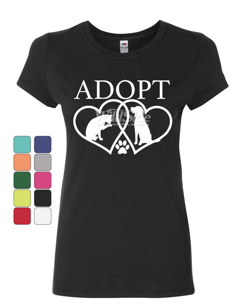 Adopt Pets Women's T-Shirt Cat Dog Kitten Puppy Adoption Animal Rescue Shirt