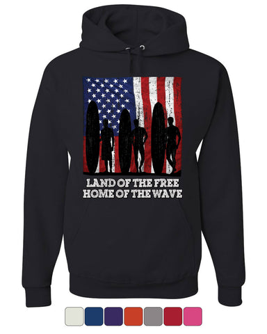 Land of the Free Surfing Hoodie Home of the Wave Beach Sweatshirt