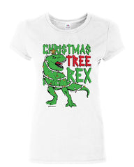 Christmas Tree Rex Women's T-Shirt Funny T-Rex Xmas Tree Holidays Santa  Shirt