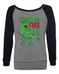 Christmas Tree Rex Women's Sweatshirt Funny T-Rex Xmas Tree Holidays Santa
