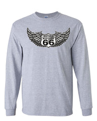 Historic Route 66 Long Sleeve T-Shirt The Mother Road American Biker MC Tee