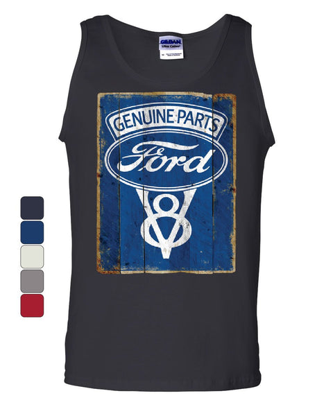 Ford Genuine Parts Tank Top Vintage Rusty Ford V8 Sign Sleeveless