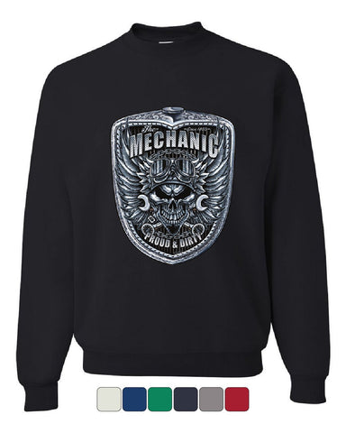 Mechanic Proud & Dirty Sweatshirt Skull And Wings Engine Motor Cars Sweater