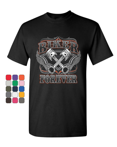 Biker Forever T-Shirt Chopper Bobber Motorcycle MC Route 66 Mens Tee Shirt