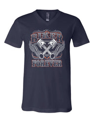 Biker Forever V-Neck T-Shirt Chopper Bobber Motorcycle MC Route 66 Tee