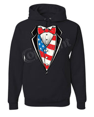 American Flag Tuxedo Hoodie Funny 4th of July Stars and Stripes Sweatshirt