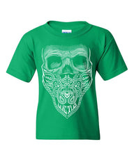 Bandana Skull Youth T-Shirt Badass Gangsta Swag Dead Kids Tee