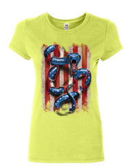 American Serpent Women's T-Shirt Don't Tread on Me Gadsden Flag Shirt