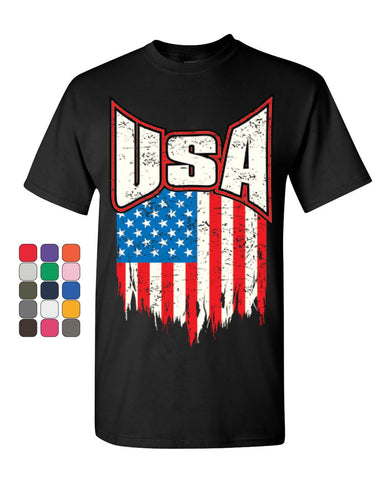 USA Distressed Flag T-Shirt 4th of July Stars & Stripes Patriot Mens Tee Shirt