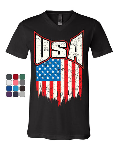 USA Distressed Flag V-Neck T-Shirt 4th of July Stars & Stripes Patriot Tee