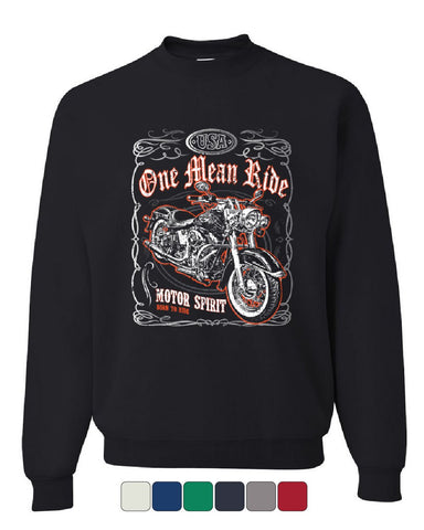 One Mean Ride Sweatshirt Born to Ride Chopper Bobber Route 66 Biker Sweater