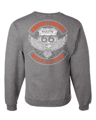 America's Highway Sweatshirt Born to Ride Route 66 Biker MC Chopper Sweater