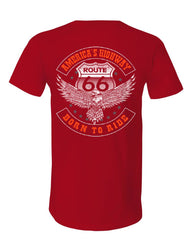 America's Highway V-Neck T-Shirt Born to Ride Route 66 Biker MC Chopper Tee