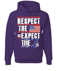 Respect the Flag or Expect the Boot Hoodie American Flag Patriotic Sweatshirt