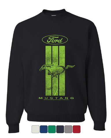Ford Mustang Green Stripe Sweatshirt Classic American Muscle Car Sweater