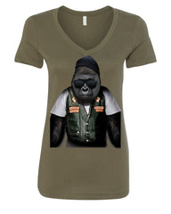 Biker Ape Women's V-Neck T-Shirt Gorilla Motorcycle Route 66 Chopper Bobber