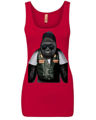 Biker Ape Women's Tank Top Gorilla Motorcycle Route 66 Chopper Bobber Top
