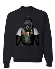 Biker Ape Sweatshirt Gorilla Motorcycle Route 66 Chopper Bobber Sweater