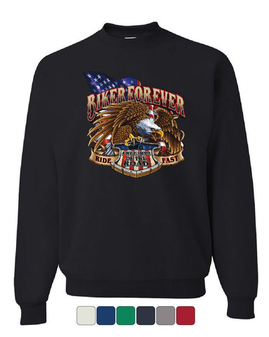 Biker Forever Sweatshirt Ride Fast Eagle Freedom of the Road Flag Sweater