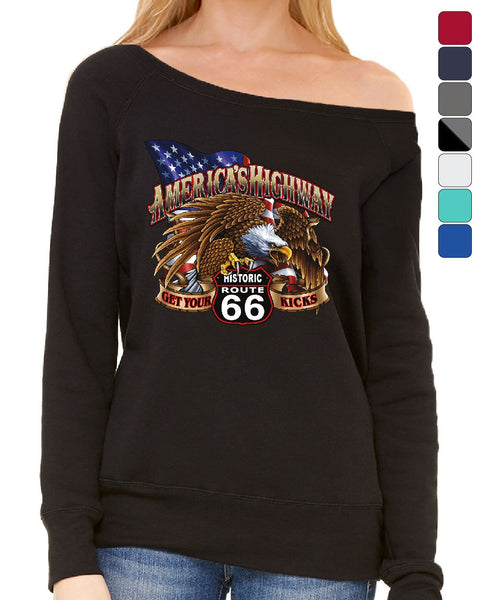 America's Highway Route 66 Women's Sweatshirt Get your Kicks Ride or Die