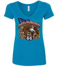 America's Highway Route 66 Women's V-Neck T-Shirt Get your Kicks Ride or Die
