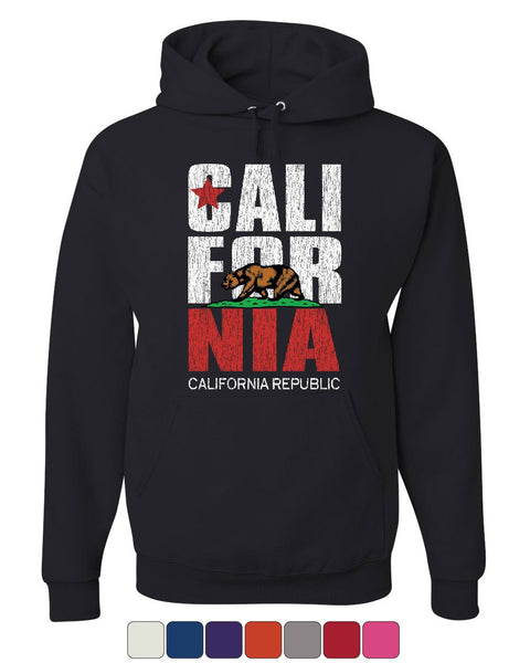 California Republic Hoodie Cali Star CA Patriot Grizzly Bear Sweatshirt