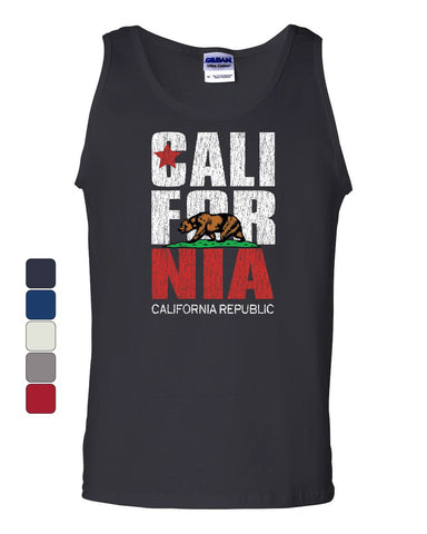 California Republic Tank Top Cali Star CA Patriot Grizzly Bear Sleeveless