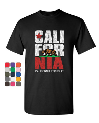California Republic T-Shirt Cali Star CA Patriot Grizzly Bear Mens Tee Shirt