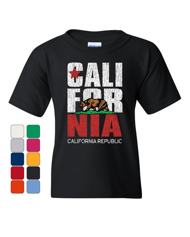 California Republic Youth T-Shirt Cali Star CA Patriot Grizzly Bear Kids Tee