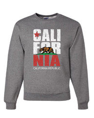 California Republic Sweatshirt Cali Star CA Patriot Grizzly Bear Sweater