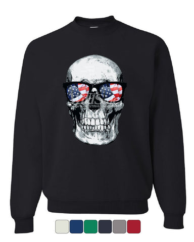 Skull with Glasses Sweatshirt 4th of July Stars And Stripes Patriot Sweater