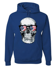 Skull with Glasses Hoodie 4th of July Stars And Stripes Patriot Sweatshirt